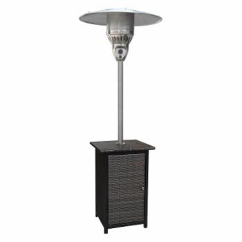 Cambridge 7 ft. Square Brown Wicker Propane Gas Patio Heater - Stainless Steel