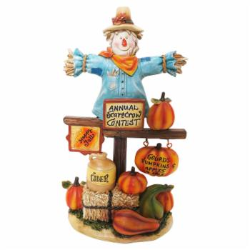 Alpine Scarecrow with Pumpkins Statue