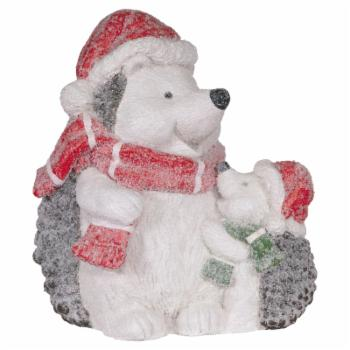 Alpine Indoor/Outdoor Winter Hedgehog Family Statue