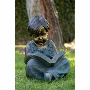 Alpine Boy Sitting Down Reading Book Garden Statue