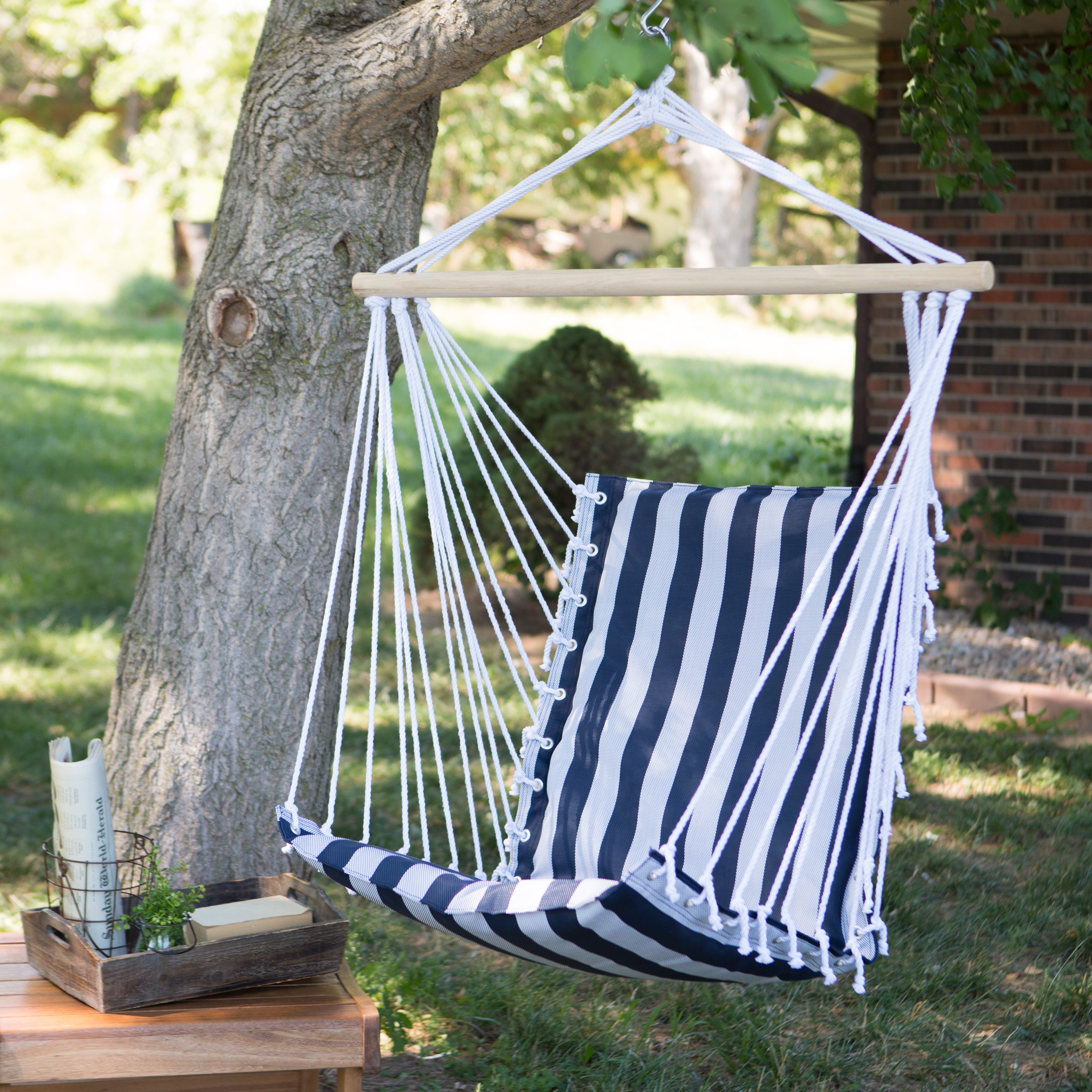 Charmant The Ultimate Padded Mesh Hanging Hammock Chair   Navy Stripes