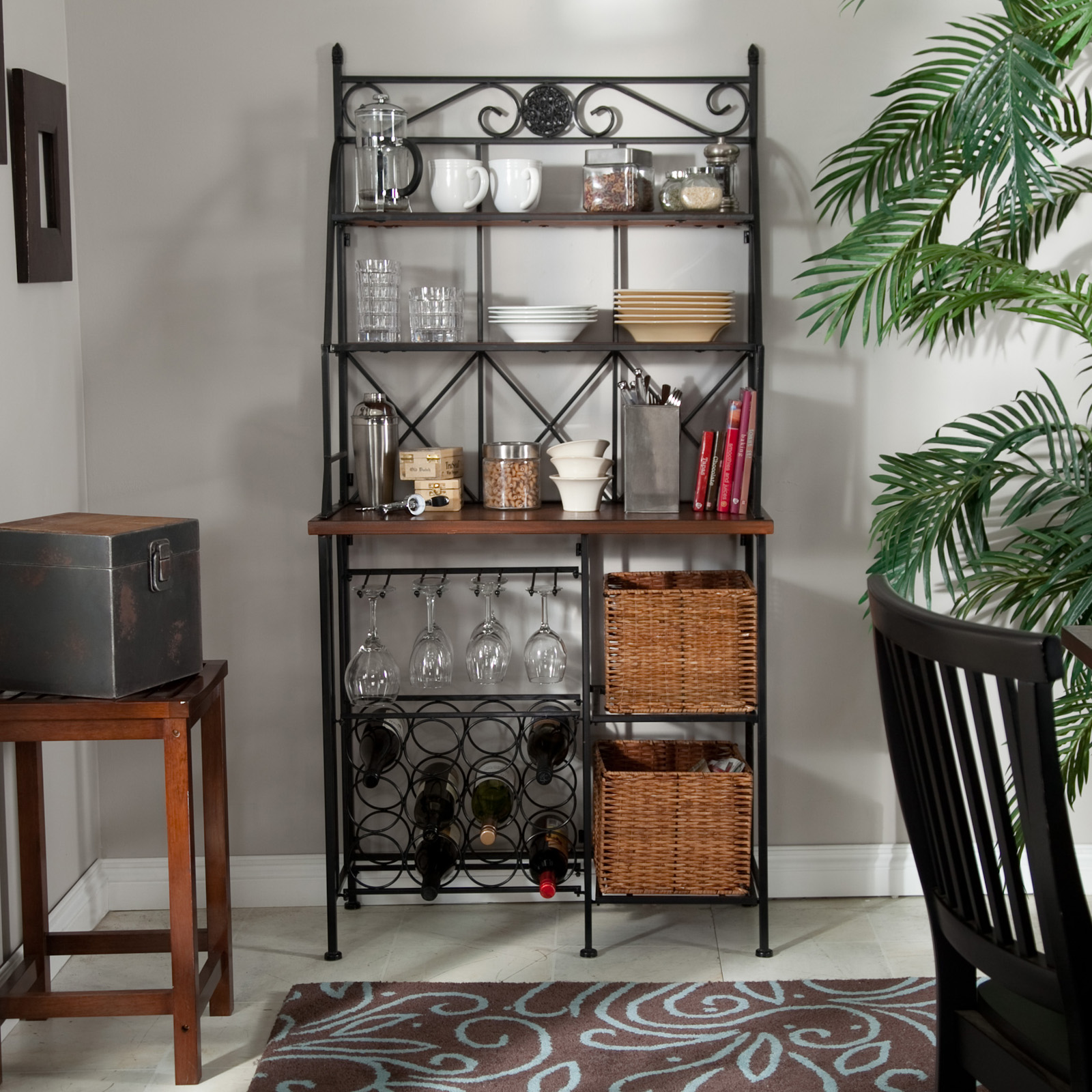 metal storage walmart for sale chrome with drawers rack kitchens bakers iron corner racks industrial wine