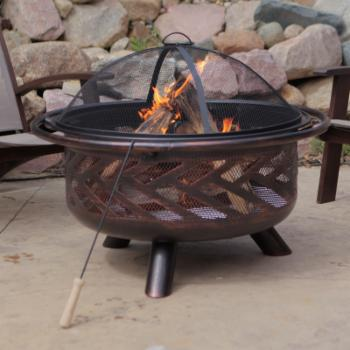 Coral Coast Aspen Bronze Round Fire Pit with Grill Grate and FREE Cover