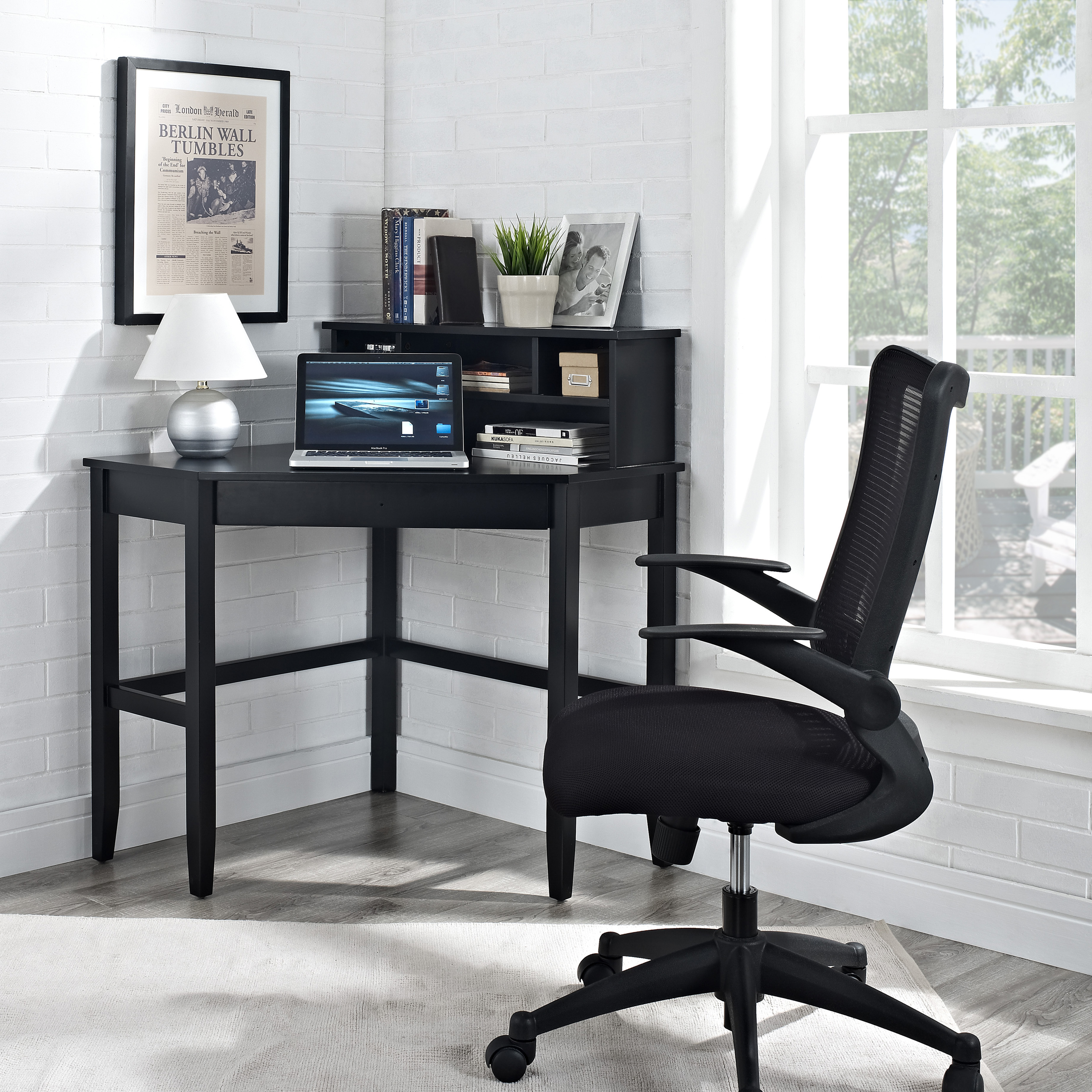 Corner Laptop Writing Desk With Optional Hutch   Black