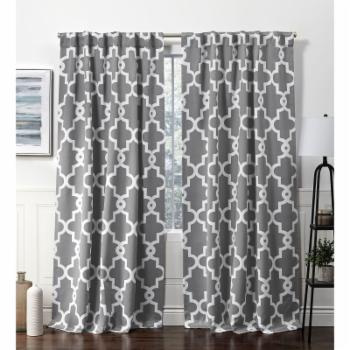 Exclusive Home Ironwork Sateen Woven Blackout Hidden Tab Top Curtain Panel Pair