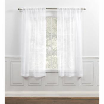Chaps Home Willa Sheer Textured Vertical Raised Slubs Rod Pocket Curtain Panel Pair