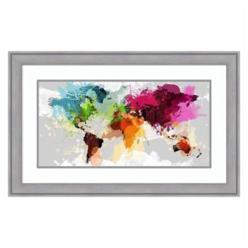 Amanti Art Colourful World Map by Graphinc Wall Art