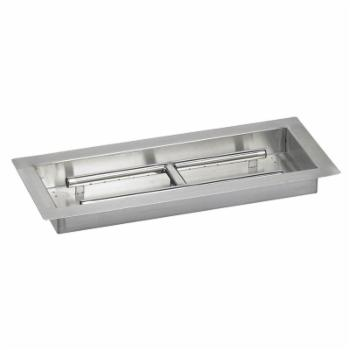 American Fireglass Stainless Steel Rectangle Drop In Fire Pit Pan with built in H-Burner