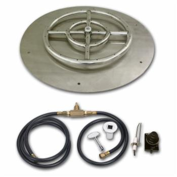 American Fireglass Round Stainless Steel Flat Pan with Spark Ignition Kit