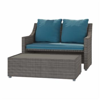 Cosco Outdoor Wicker Patio Loveseat and Coffee Table Set