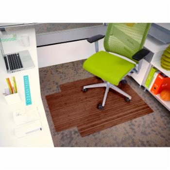 Anji Bamboo Roll-Up Walnut Chairmat With Lip