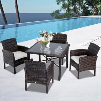 Outsunny Rattan Wicker 5 Piece Wicker Patio Dining Set