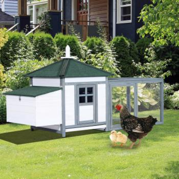 Pawhut Wooden 77 in. Backyard Chicken Coop Kit With Nesting Box and Run