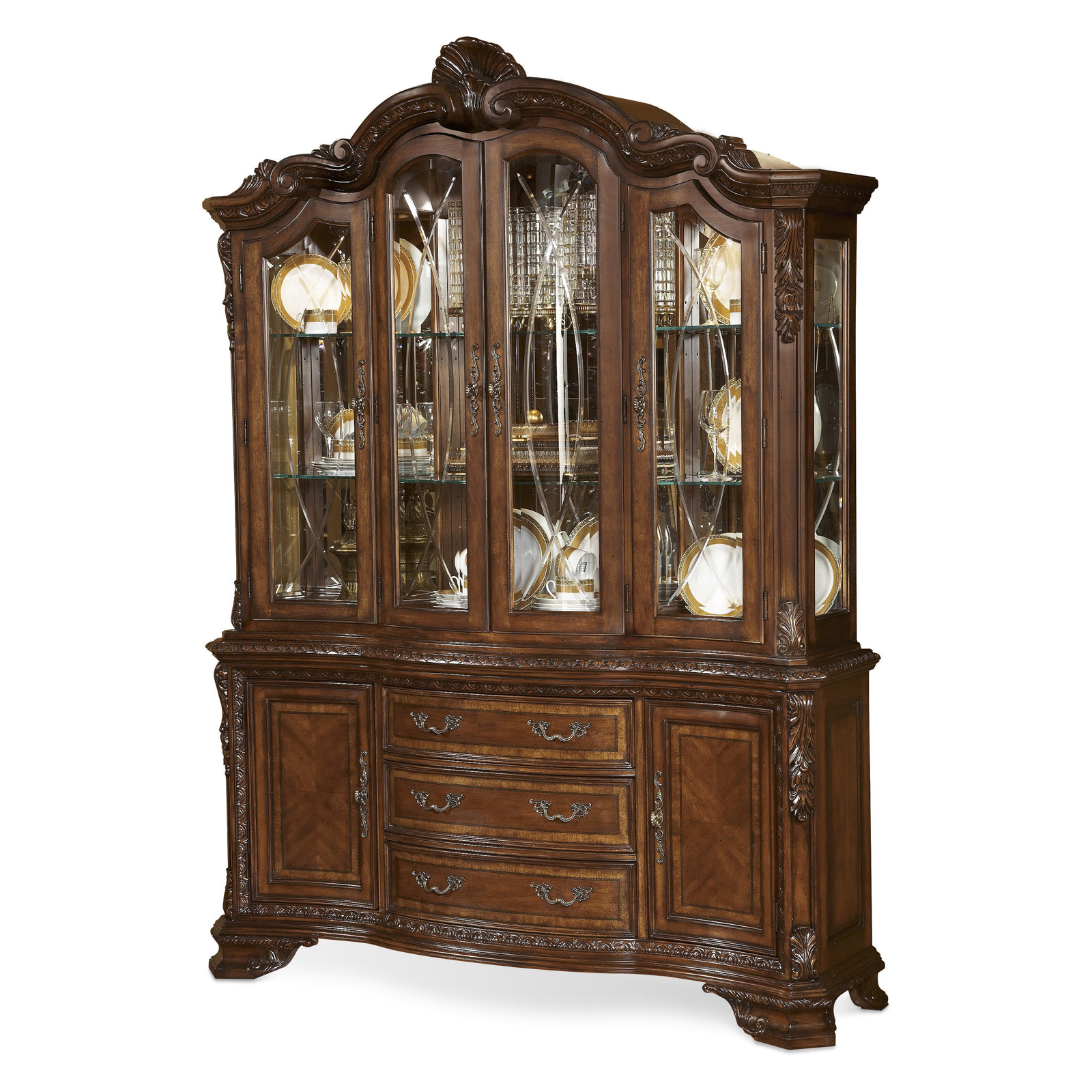 A.R.T. Furniture Old World China Cabinet   Cathedral Cherry
