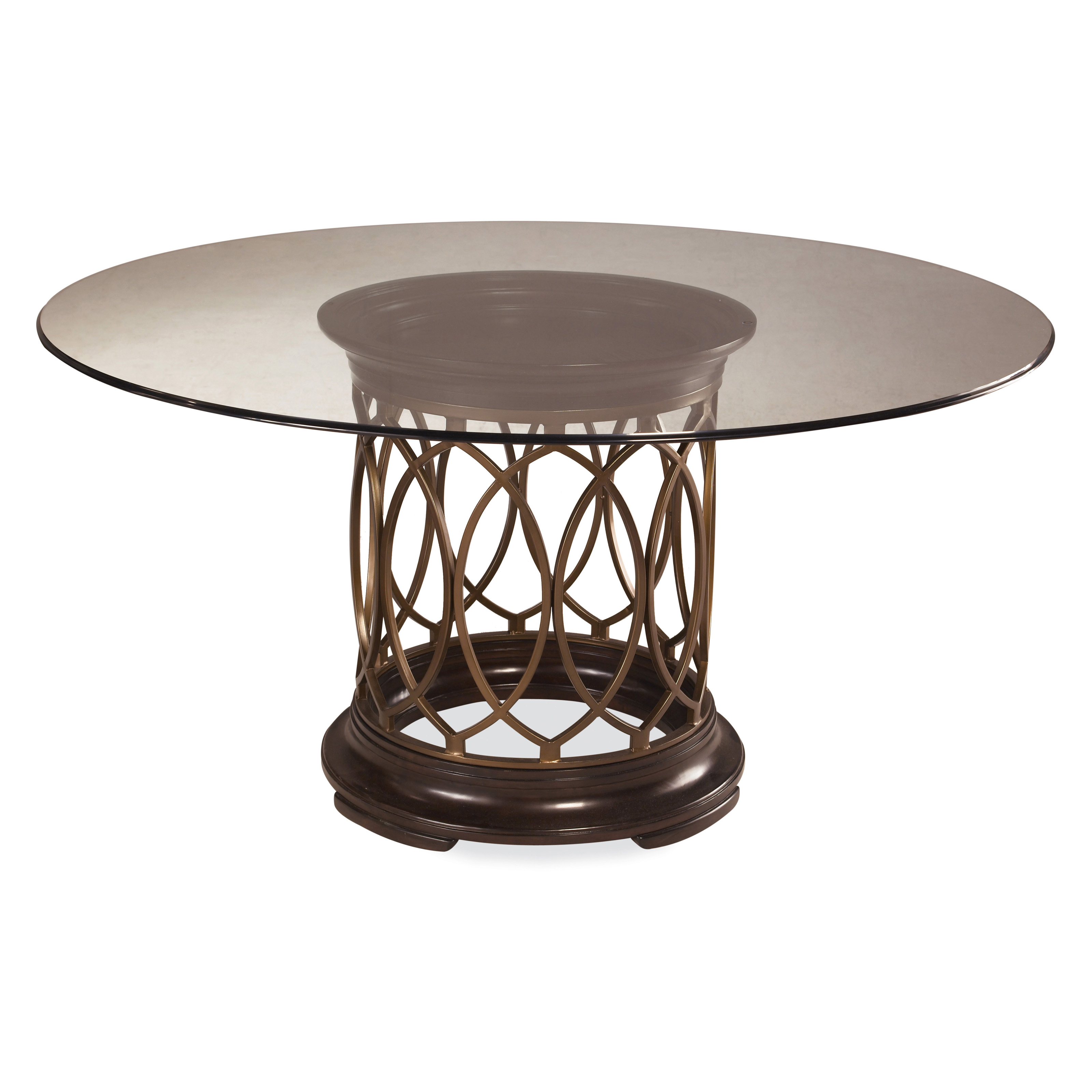 A.R.T. Furniture Intrigue Glass Top Round Dining Table   Dark Wood With  Maple Stringer Inlay | Hayneedle