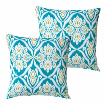 Artisan Pillows Turquoise Abstract 18 in. Indoor/Outdoor Pillow - Set of 2