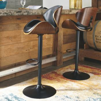 Signature Design by Ashley Bellatier Tall Black Bucket Adjustable Height Barstool