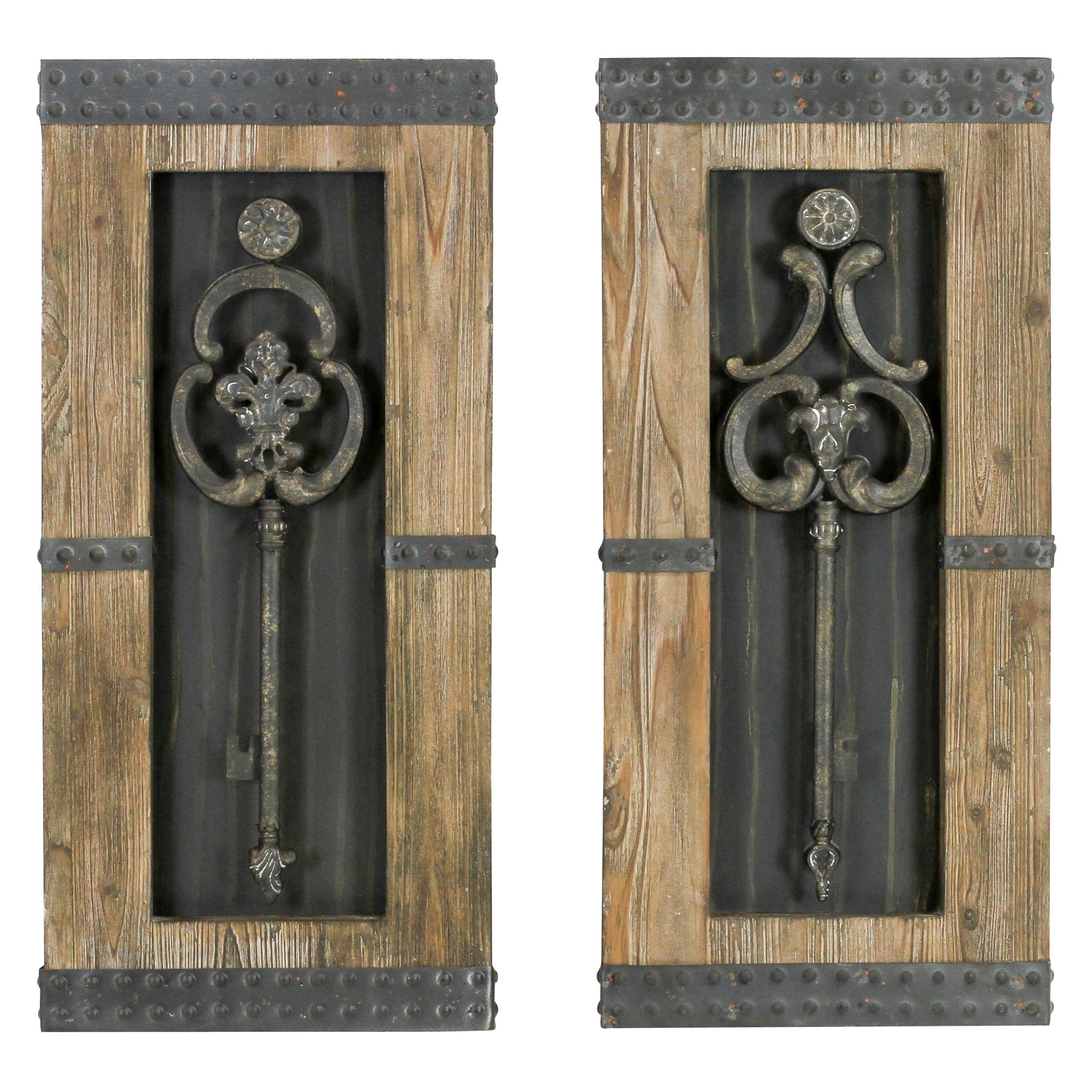 Aspire home accents antique key wood wall decor set of 2 14w x 30h in ea hayneedle