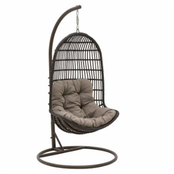Patio Heaven Birds Nest Resin Wicker Hanging Chair with Arms