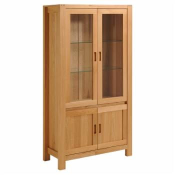 Parisot Ethan Solid Oak Glass Door Cabinet with Shelves