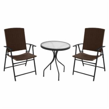 Hiland Dark Brown Wicker Patio Bistro Set