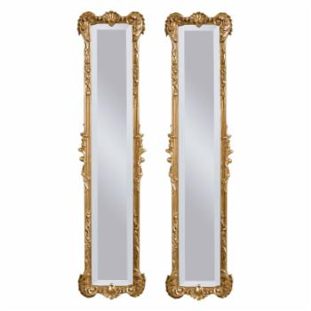 Set of 2 Antique Gold Leaf Finish Mirrors - 12W x 50H in.