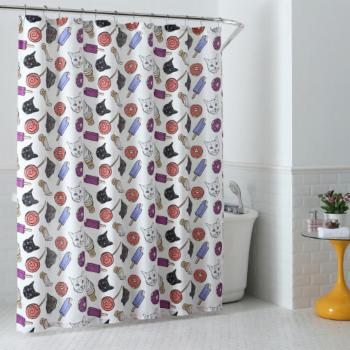 Oh Hello Cat & Junkfood Shower Curtain