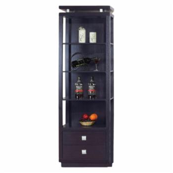 Benzara Decorative Media Tower Bookcase - Dark Brown