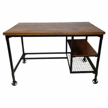 Benzara Industrial Wood Writing Desk with Wheels