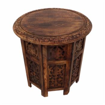 Benzara Wooden Hand Carved Folding Accent Coffee Table