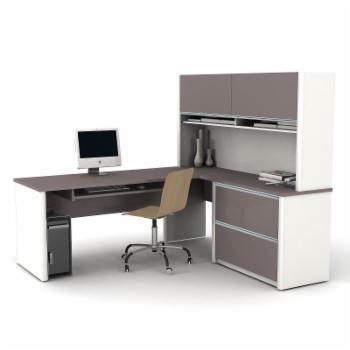 Bestar Connexion L-Shaped Desk with Hutch - Sandstone / Slate