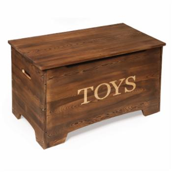 Badger Basket Solid Wood Rustic Toy Box - Caramel Brown