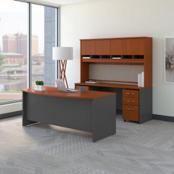Bush Furniture Series C 72 in. Bow Front Desk with Credenza and Hutch
