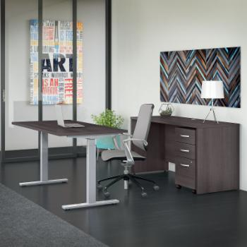 Bush Business Furniture Studio C 60 in. Adjustable Standing Desk and Credenza Desk with Mobile File Cabinets