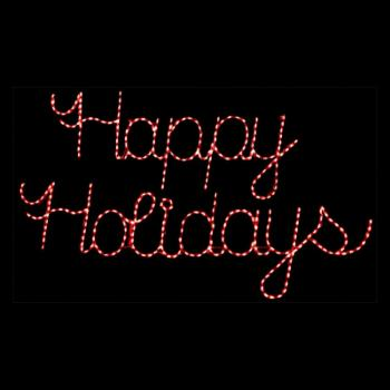 32 in. Outdoor LED Red Happy Holidays Sign Lighted Display - 300 Bulbs