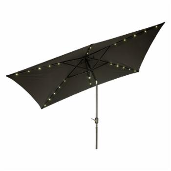 Trademark Innovations 10 ft. x 6.5 ft. Rectangular Solar Powered LED Lighted Patio Umbrella with Tilt