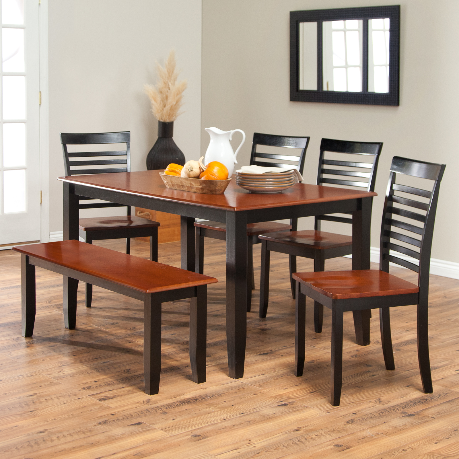 bloomington6piecetablechairsandbenchsetblackcherry kitchen table chairs Boraam Bloomington Dining Table Set Black Cherry Dining Table Sets at Hayneedle