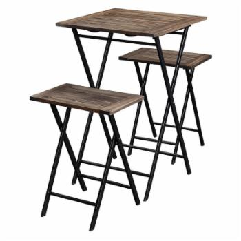 Boraam Brookville 3 Piece Folding Bistro Pub Table Set