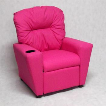 Brazil Furniture Cupholder Child Recliner - Dixie Pink