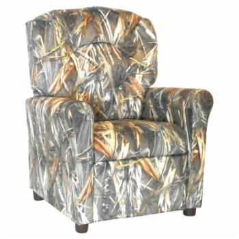 Brazil Furniture 4-Button Back Child Recliner - Camo Brown