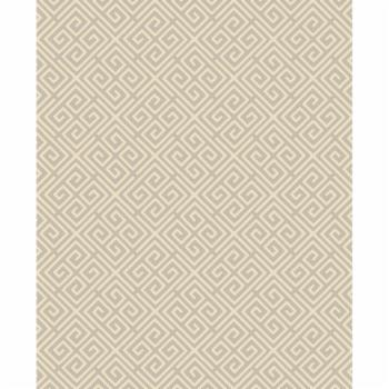 Brewster Omega Taupe Geometric Wallpaper