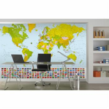 Ideal Decor Map Of The World with Flags Wall Mural