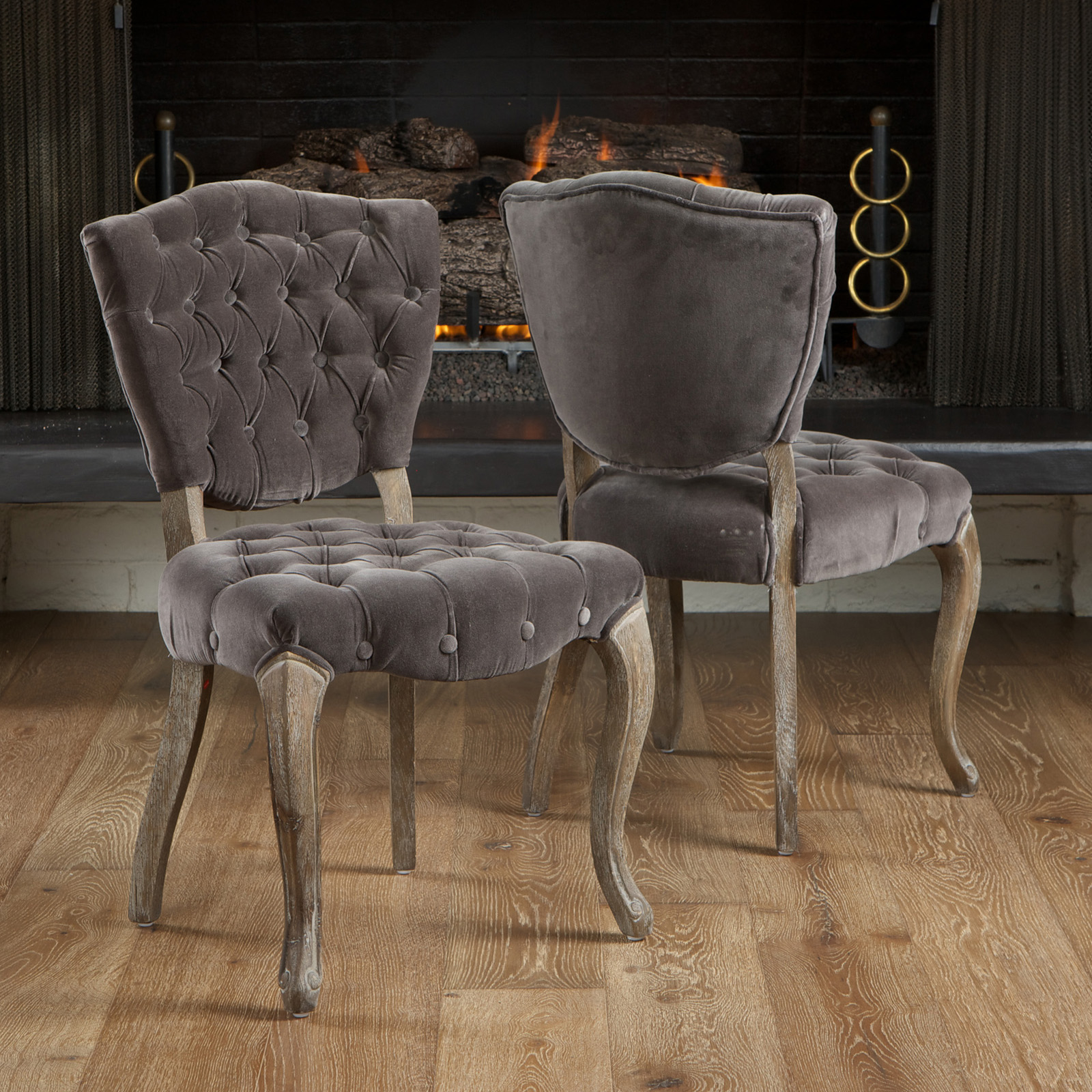 Bates tufted fabric dining chair set of 2 hayneedle