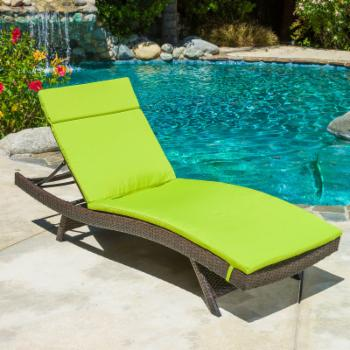 Outdoor Adjustable Chaise Lounge with Colored Cushion