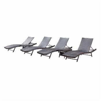 Kauai Wicker 6 Piece Chaise Lounge Set