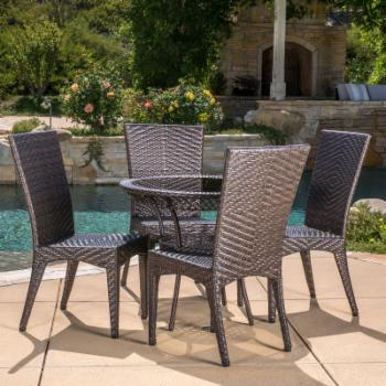 Luxely 5 Piece Wicker Patio Dining Set