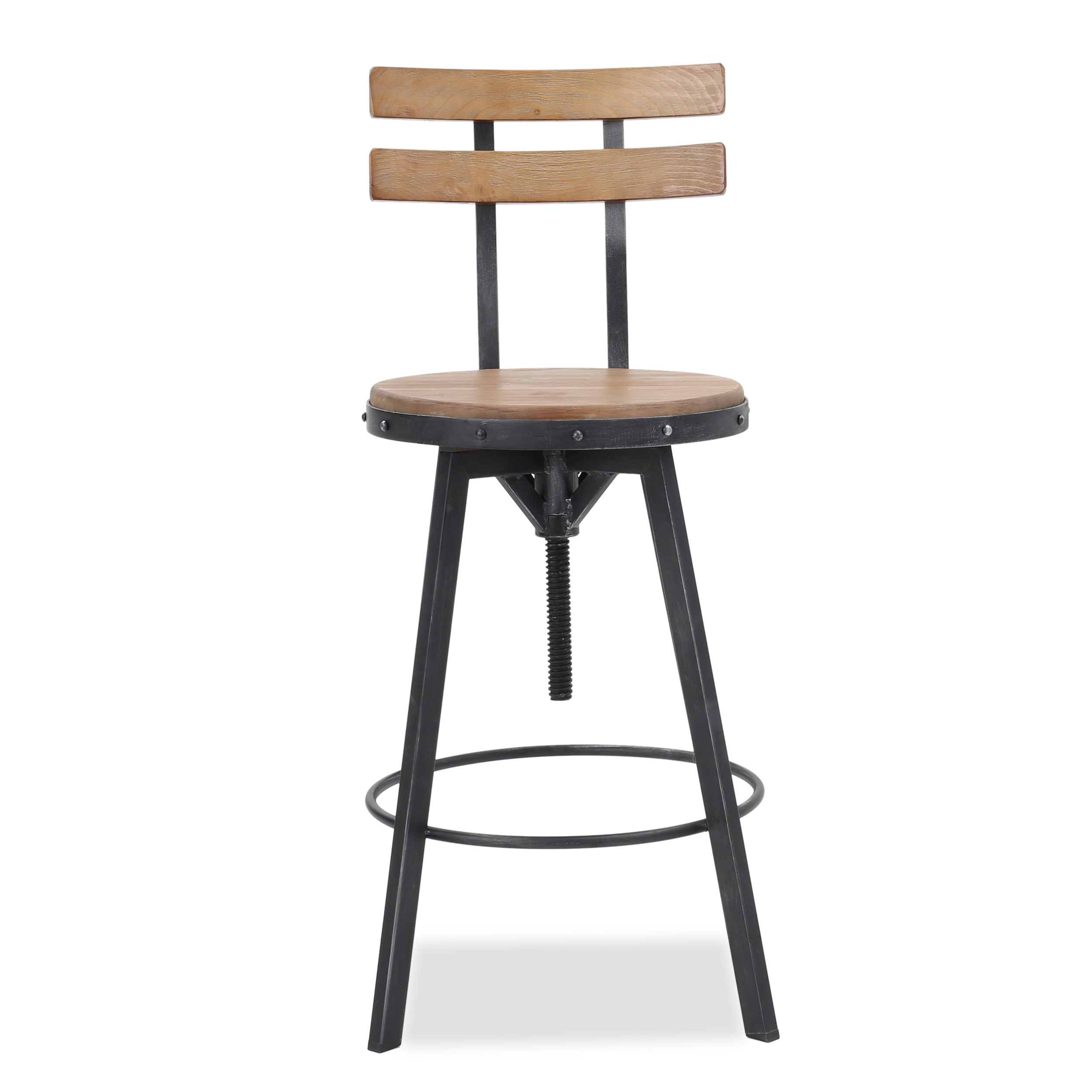 Marus Antique Finish Firwood Bar Stool
