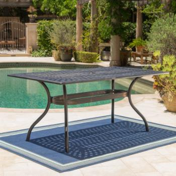 Austin Outdoor Shiny Copper Rectangular Dining Table