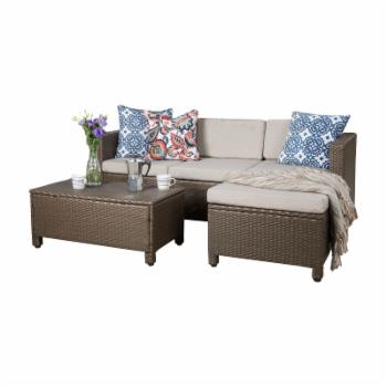 Best Selling Home Puerta Wicker Sectional Sofa Patio Conversation Set with Coffee Table