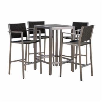 Best Selling Home Cape Coral Wicker 5 Piece Bar Height Patio Dining Set